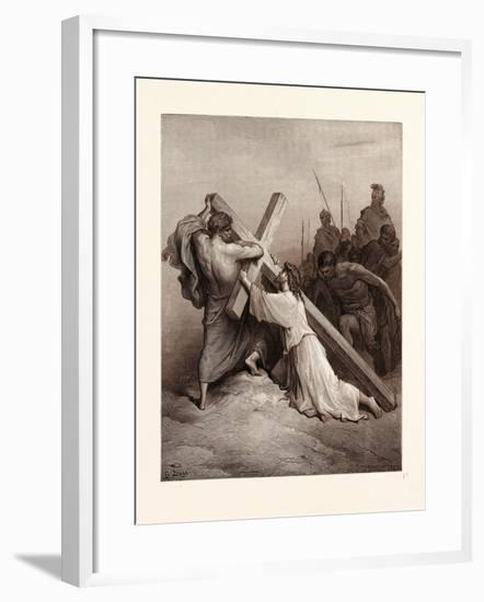 Jesus Falling Beneath the Cross-Gustave Dore-Framed Giclee Print