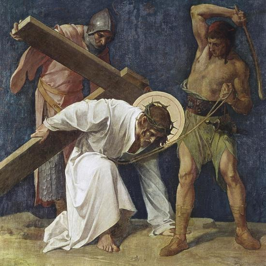 Jesus Falls the First Time (3rd Station of the Cross) 1898-Martin Feuerstein-Giclee Print