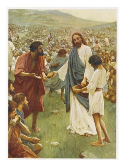 Jesus Feeds 5000--Giclee Print