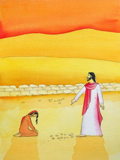 Jesus Forgives the Woman Caught in Adultery, 2006-Elizabeth Wang-Giclee Print