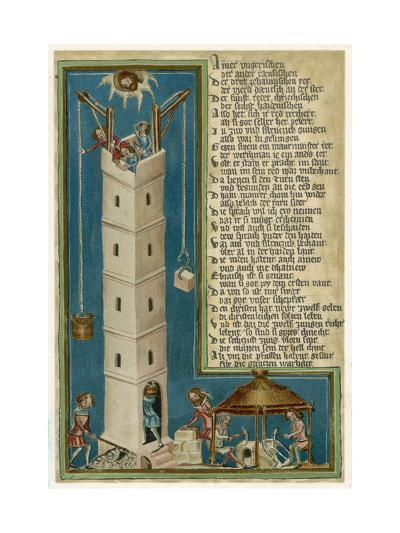 Jesus from Heaven Looks Down Apprehensively at the Builders of the Tower of Babel--Giclee Print