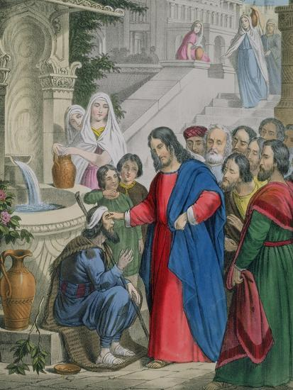 Jesus Gives Sight to One Born Blind, from a Bible Printed by Edward Gover, 1870s-Siegfried Detler Bendixen-Giclee Print