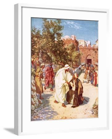 Jesus Healing a Leper-William Brassey Hole-Framed Giclee Print