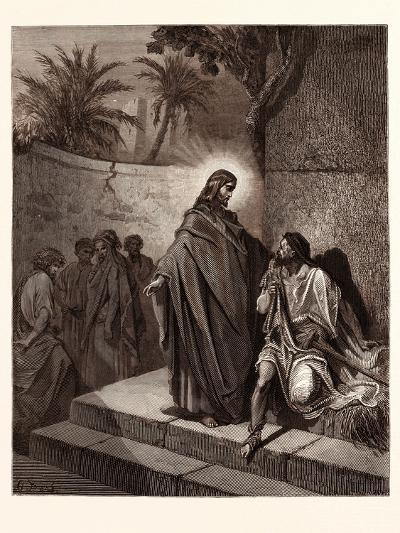 Jesus Healing the Man Sick of the Palsy-Gustave Dore-Giclee Print