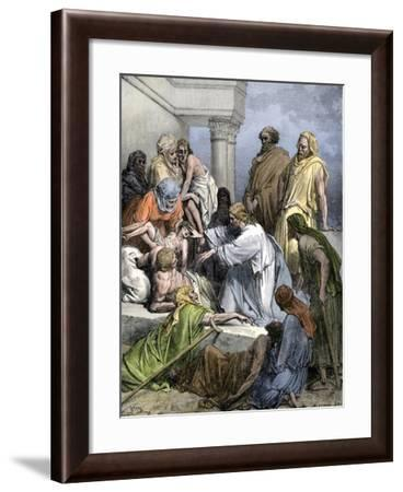 Jesus Healing the Sick and the Lame--Framed Giclee Print