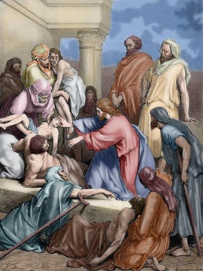 Jesus Healing the Sick-Gustave Dore-Giclee Print