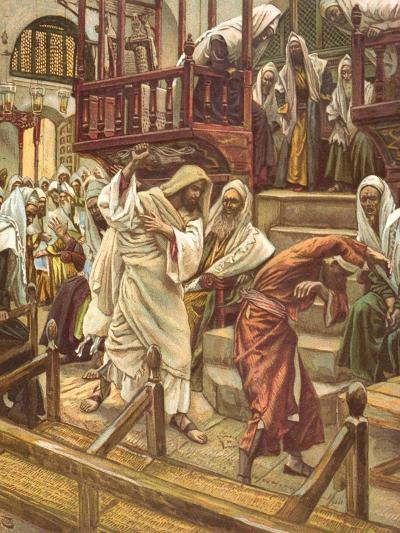 Jesus Heals a Man Possessed by a Demon in the Synagogue for 'La Vie De Notre Seigneur Jesus-Christ'-James Jacques Joseph Tissot-Giclee Print