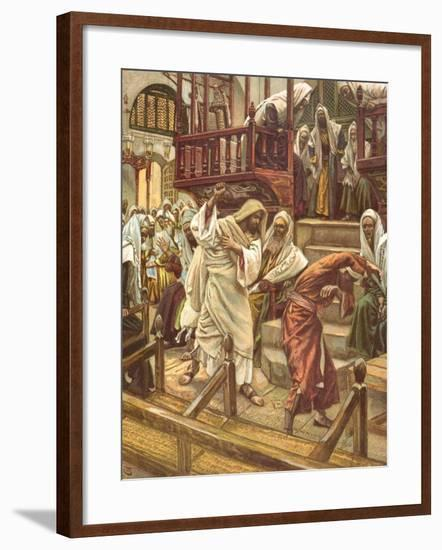 Jesus Heals a Man Possessed by a Demon in the Synagogue for 'La Vie De Notre Seigneur Jesus-Christ'-James Jacques Joseph Tissot-Framed Giclee Print