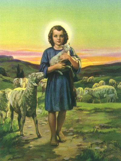 Jesus Holding Lamb--Giclee Print