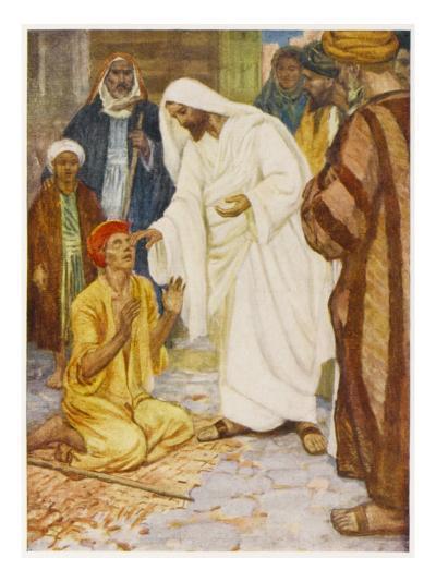 Jesus in Jerusalem Heals a Blind Man--Giclee Print