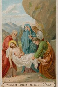 Jesus Is Laid in the Tomb. the Fourteenth Station of the Cross