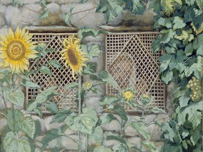 Jesus Looking Through a Lattice with Sunflowers, Illustration for 'The Life of Christ', C.1886-96-James Tissot-Giclee Print