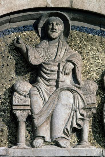 Jesus on Throne, Bas-Relief, Detail from Lunette Above Entrance Door--Giclee Print