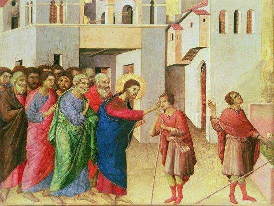 Jesus Opens the Eyes of a Man Born Blind, 1311-Duccio di Buoninsegna-Giclee Print
