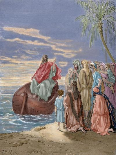 Jesus Preaching in the Sea of Galilee-Gustave Dore-Giclee Print