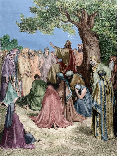 Jesus Preaching to the Crowd--Giclee Print