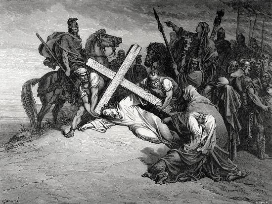 Jesus Reaches the Top of Calvary, Engraving, 19th Century--Giclee Print