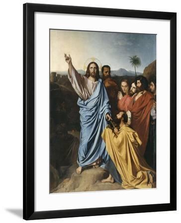 Jésus remettant à saint Pierre les clés du Paradis-Jean-Auguste-Dominique Ingres-Framed Giclee Print
