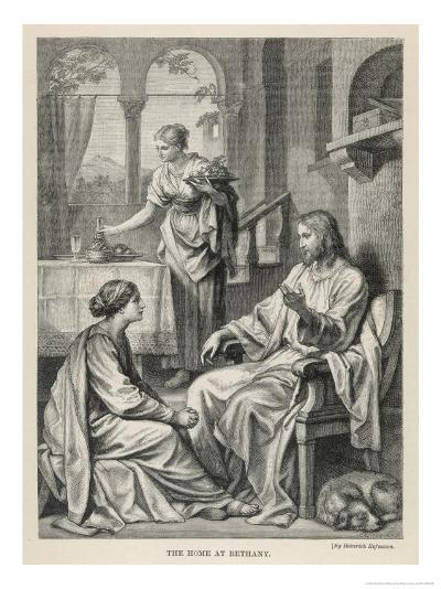 Jesus Talks with Mary While Martha Does Housework-Heinrich Hofmann-Giclee Print