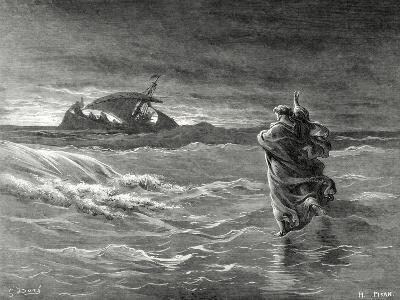Jesus Walks on the Water of the Sea of Galilee--Giclee Print