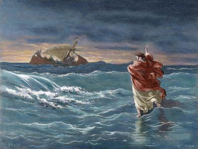 Jesus Walks on the Water of the Sea of Galilee--Giclee Print