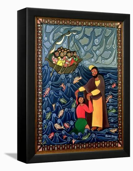 Jesus Walks on Water, 1998-Laura James-Framed Stretched Canvas Print
