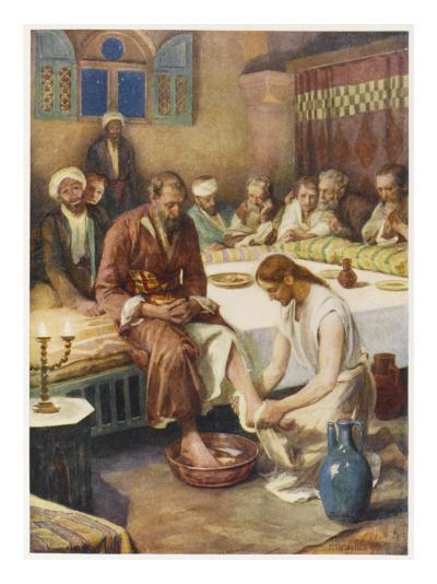 Jesus Washes the Feet of His Disciples--Giclee Print