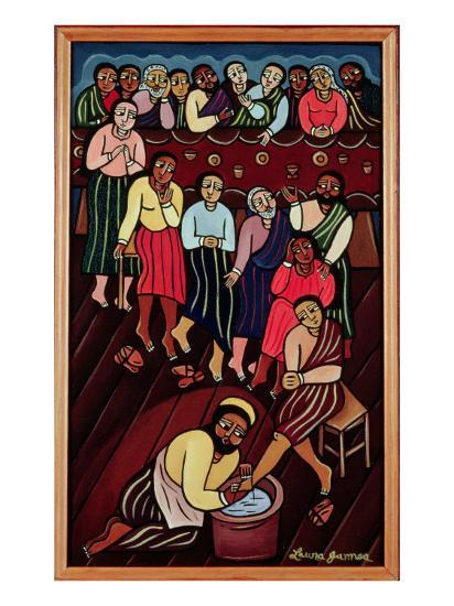 Jesus Washing the Disciples' Feet, 2000-Laura James-Giclee Print