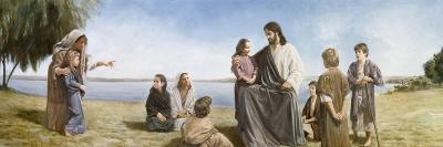 Jesus with Children-David Lindsley-Giclee Print