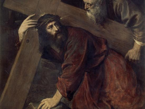 Jesus with the Crucifix-Titian (Tiziano Vecelli)-Giclee Print