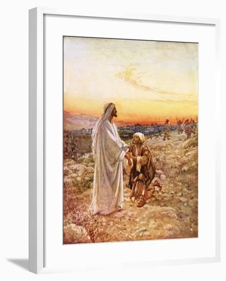 Jesus Withe the One Leper Who Returned to Give Thanks-William Brassey Hole-Framed Giclee Print