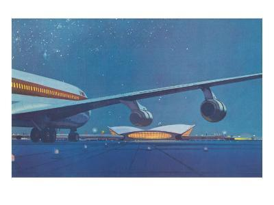 Jet Airliner Approaching Terminal--Art Print