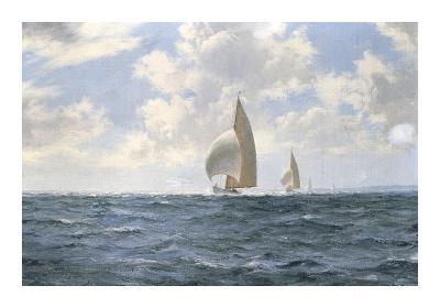 'Jet' in the Silver Sea-Montague Dawson-Premium Giclee Print