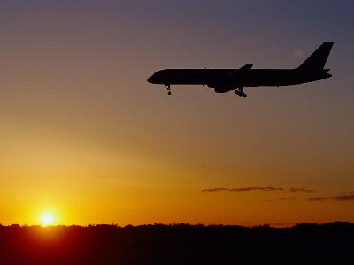 Jet Landing at Sunset, O'Hare Airport, IL-Ed Lallo-Photographic Print