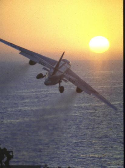 Jet Plane, A4D Skyhawk, Taking Off From USS Independence at Sunrise over Mediterranean Sea-John Dominis-Photographic Print