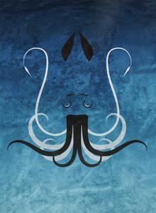Giant Squid - Jethro Wilson Contemporary Wildlife Print by Jethro Wilson