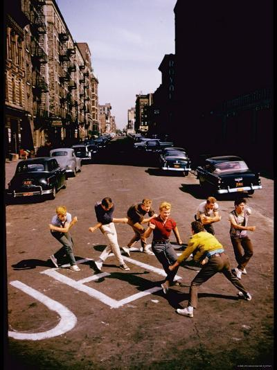 Jets' Dance on Busy Street in Scene from West Side Story-Gjon Mili-Premium Photographic Print