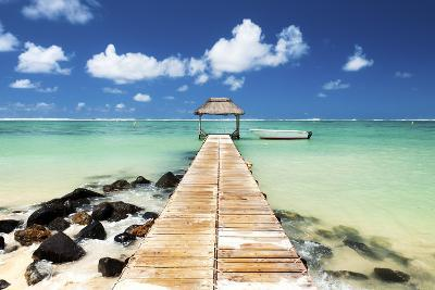 Jetty and Boat on the Turquoise Water, Black River, Mauritius, Indian Ocean, Africa-Jordan Banks-Photographic Print