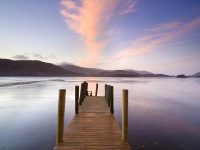 Jetty and Derwentwater at Sunset, Near Keswick, Lake District National Park, Cumbria, England, Uk-Lee Frost-Photographic Print