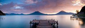 Jetty in a Lake with a Mountain Range in the Background, Lake Atitlan, Santa Cruz La Laguna