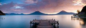 Jetty in a Lake with a Mountain Range in the Background, Lake Atitlan, Santa Cruz La Laguna