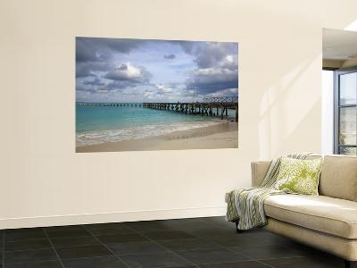 Jetty on Cancun Beach, with Grey Clouds Overhead-Sean Caffrey-Giant Art Print