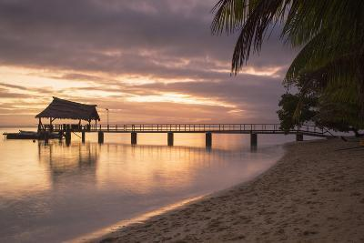 Jetty on Leleuvia Island at Sunset, Lomaiviti Islands, Fiji, South Pacific, Pacific-Ian Trower-Photographic Print