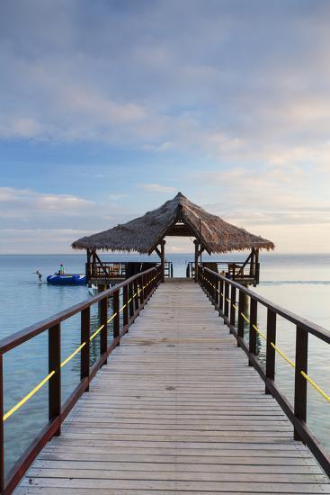 Jetty on Leleuvia Island, Lomaiviti Islands, Fiji-Ian Trower-Photographic Print