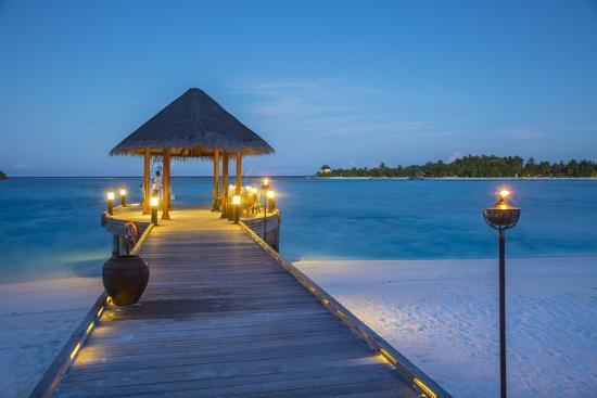 Jetty on the Anantara Dhigu resort, South Male Atoll, Maldives-Jon Arnold-Photographic Print