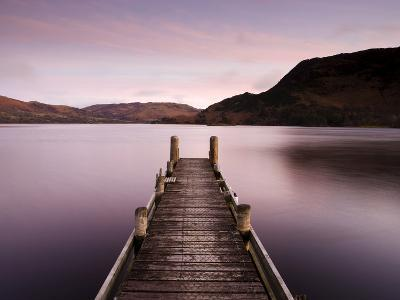 Jetty on Ullswater at Dawn, Glenridding Village, Lake District National Park, Cumbria, England, Uk-Lee Frost-Photographic Print