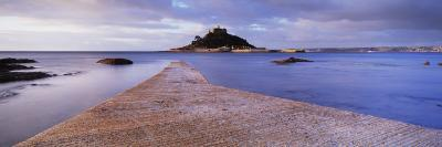 Jetty over the Sea, St. Michael's Mount, Marazion, Cornwall, England--Photographic Print