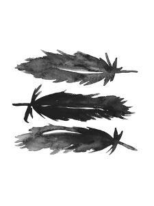 Black Watercolor Feathers by Jetty Printables