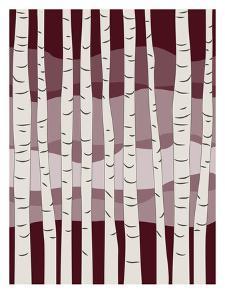Burgundy Birch Trees by Jetty Printables