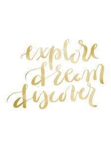 Gold Explore Dream Discover Typography by Jetty Printables
